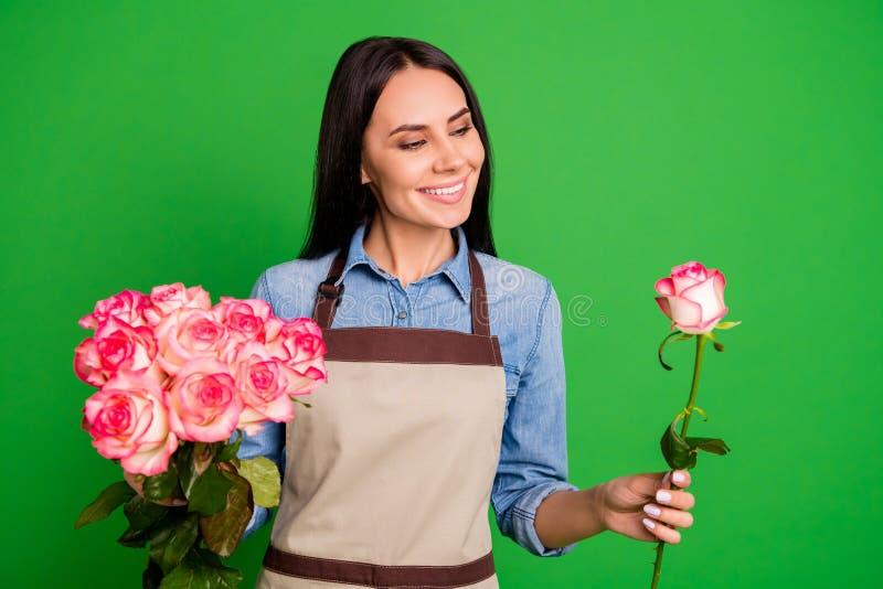 Retrato del sueño satisfecho alegre del contenido de la señora del empresario del control de la mano del capullo de rosa bonito a imagen de archivo