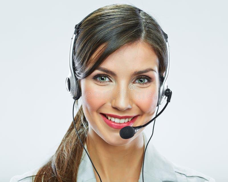 Retrato del trabajador del servicio de atención al cliente de la mujer, sonrisa del centro de atención telefónica foto de archivo