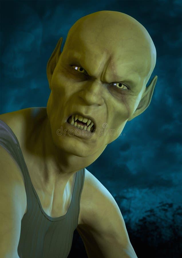 Retrato del vampiro calvo con una cara espeluznante ilustración del vector