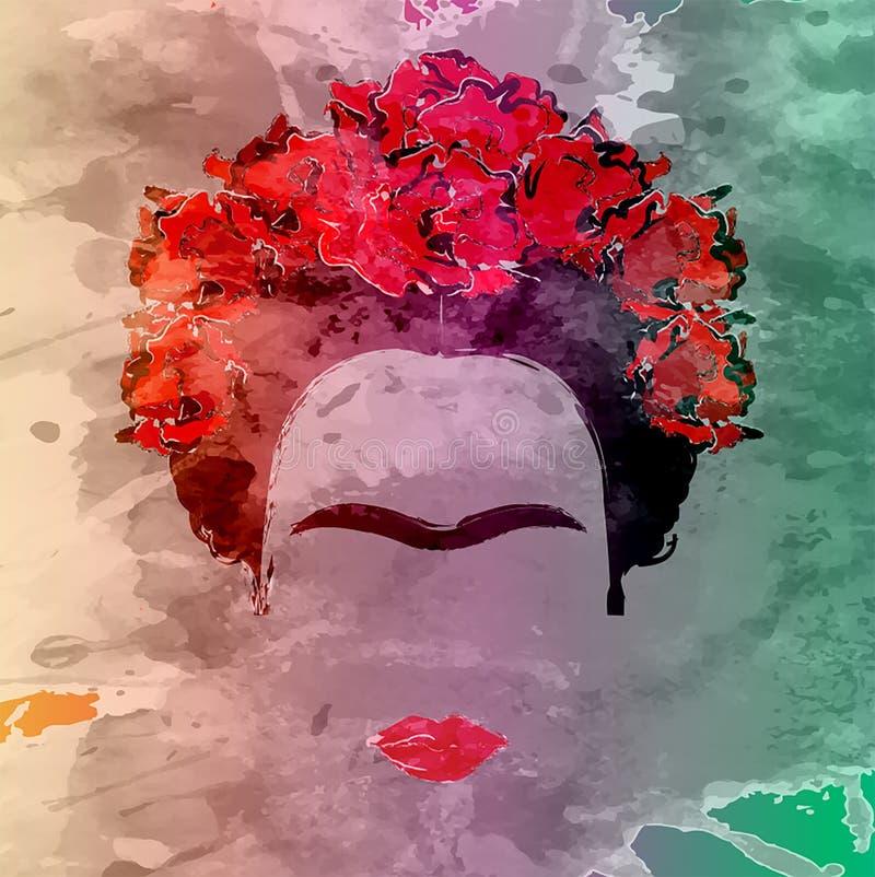 Retrato del vector de Frida Kahlo, dibujo de la mano en la pared stock de ilustración