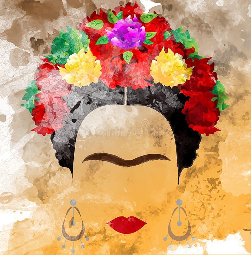 Retrato del vector de Frida Kahlo, estilo de la acuarela, dibujo de la mano en la pared ilustración del vector