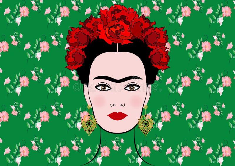 Retrato del vector de Frida Kahlo, mujer mexicana hermosa joven con un fondo tradicional del peinado, aislado o floral libre illustration