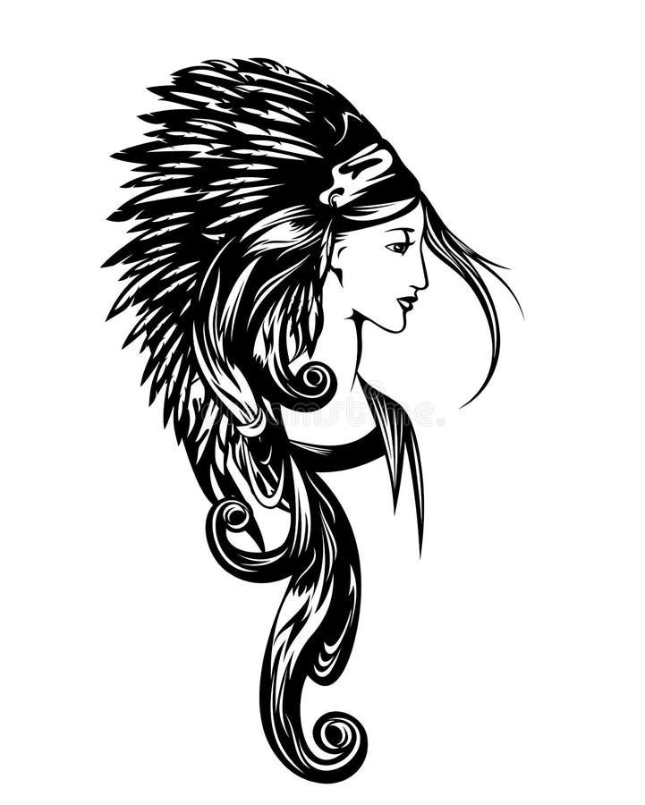 Retrato del vector de la mujer del nativo americano principal ilustración del vector