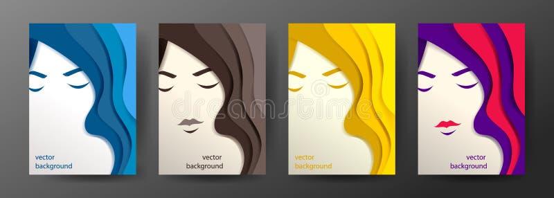 Retrato del vector de mujeres hermosas jovenes con el pelo largo libre illustration