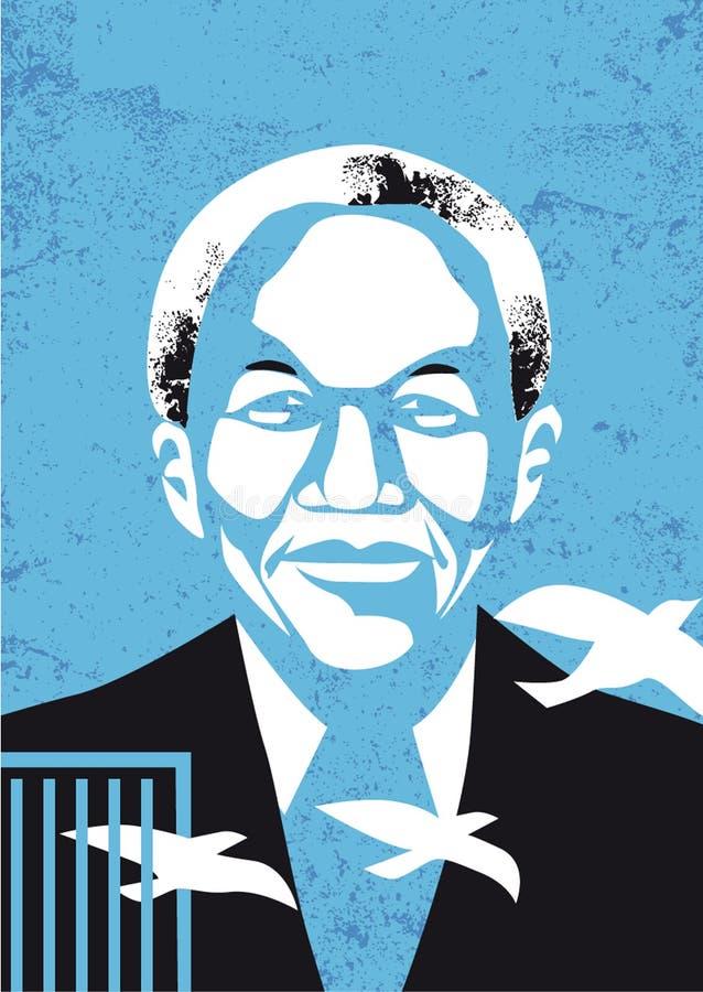 Retrato del vector de Nelson Mandela stock de ilustración