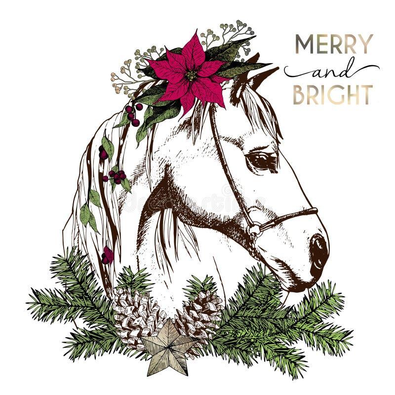 Retrato del vector del caballo de la Navidad del boho Adornado con la guirnalda del invierno y rama floral del abeto, pinecone y  stock de ilustración