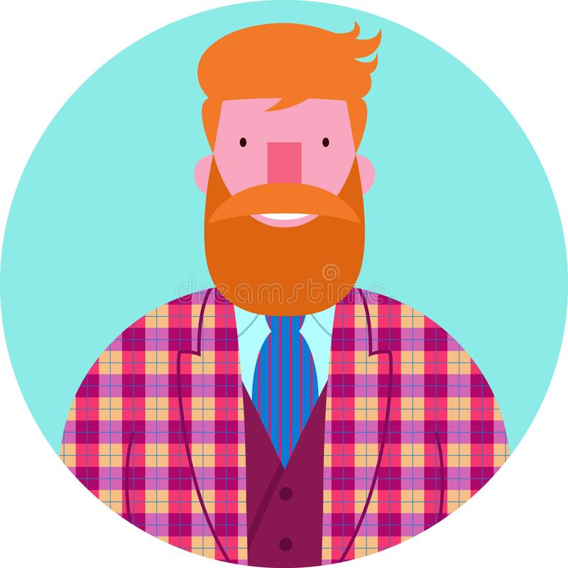 Retrato del vector del icono del hombre barbudo en chaqueta y chaleco comprobados ilustración del vector