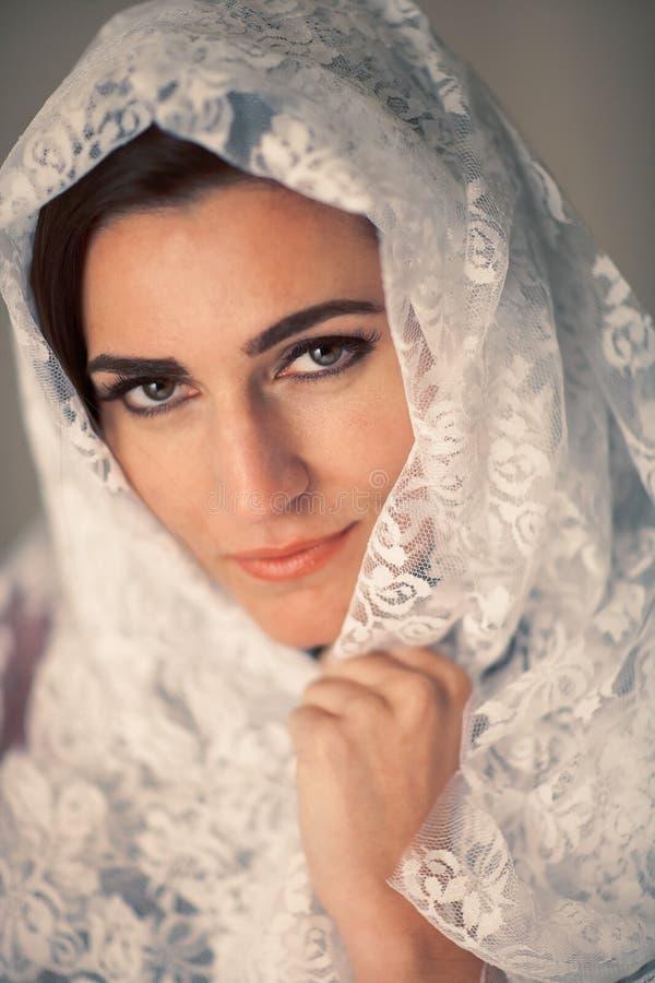 Retrato del velo de la mujer fotografía de archivo libre de regalías