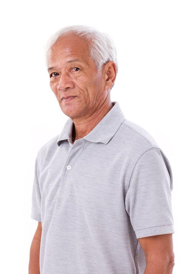 Retrato del viejo hombre mayor asiático foto de archivo