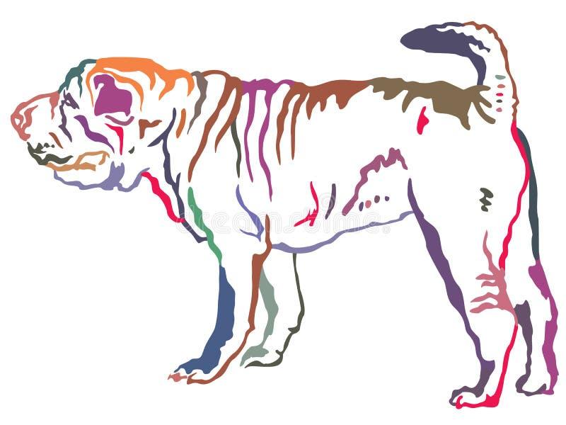 Retrato derecho decorativo colorido del vector de Shar Pei libre illustration