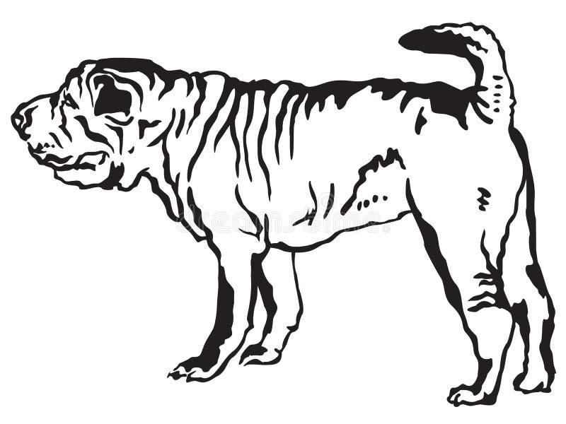 Retrato derecho decorativo del ejemplo del vector de Shar Pei stock de ilustración