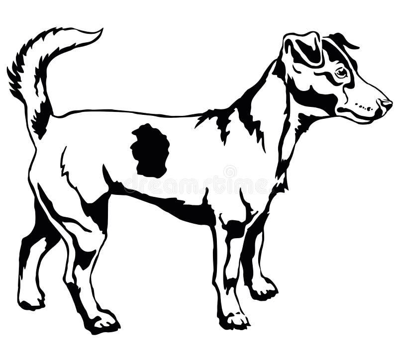Retrato derecho decorativo del vector del terrier de Jack Russell del perro stock de ilustración