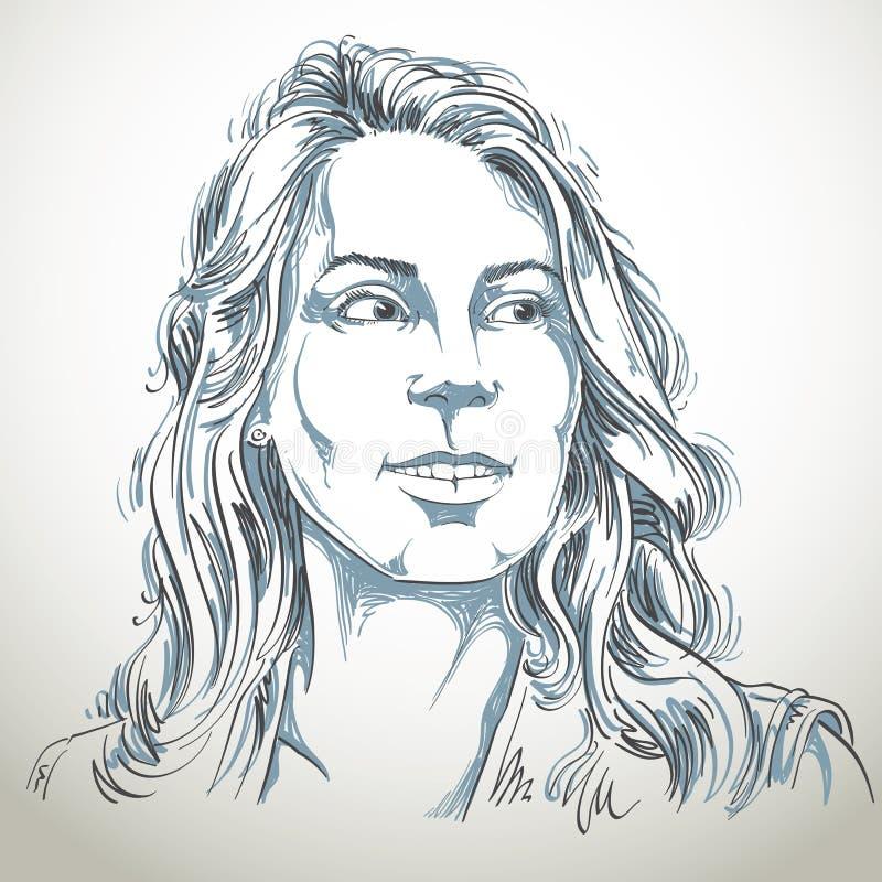 Retrato desenhado à mão da mulher da branco-pele, mal do tema das emoções da cara ilustração do vetor