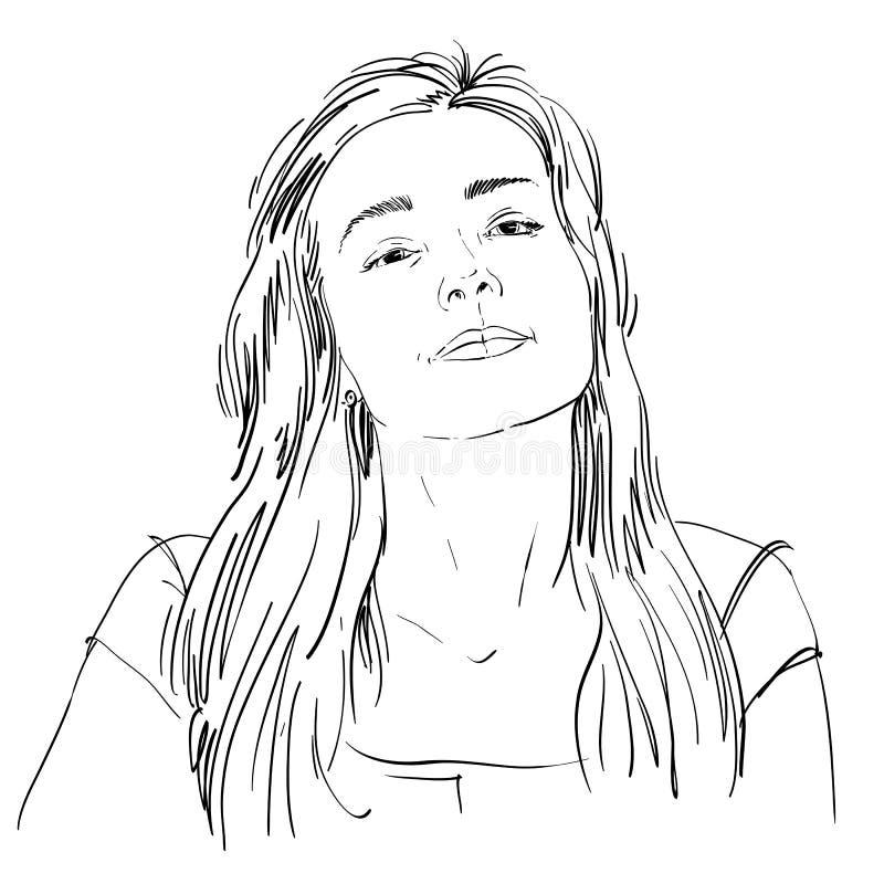 Retrato desenhado à mão da mulher flertando da branco-pele, emoções da cara ilustração royalty free