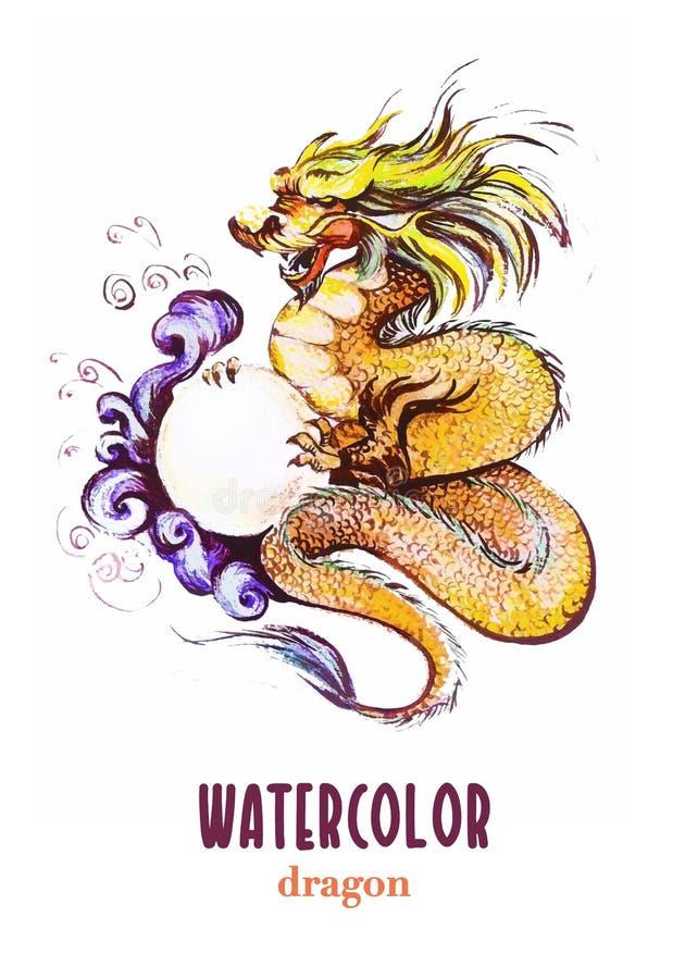 Retrato dibujado mano de la acuarela del dragón chino stock de ilustración