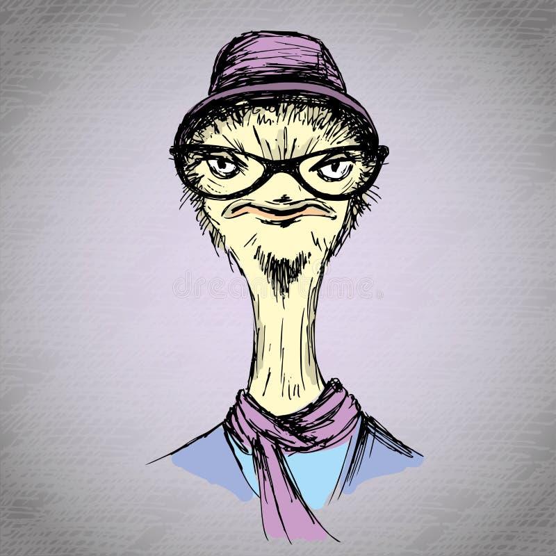 Retrato dibujado mano de la moda del inconformista de la avestruz ilustración del vector