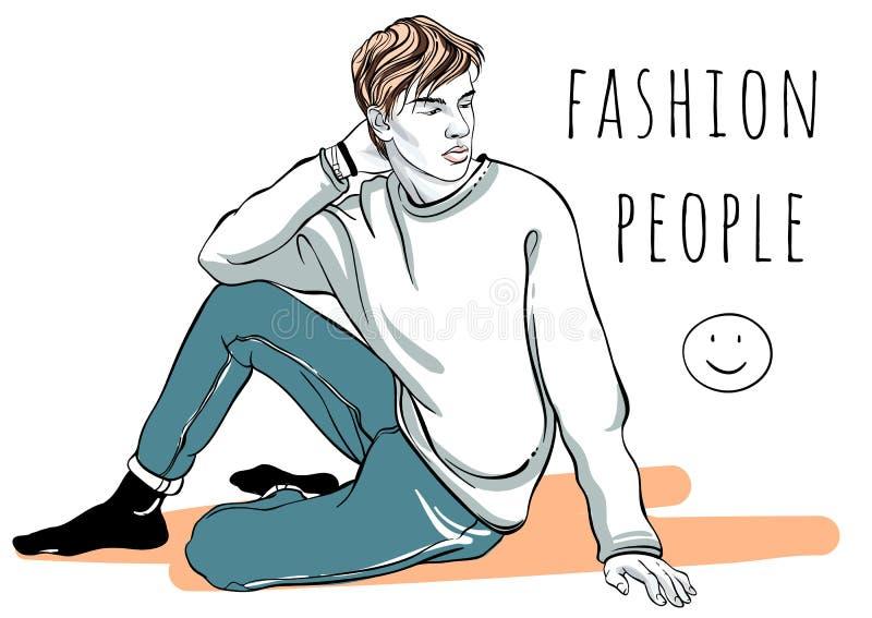 Retrato dibujado mano del hombre de la moda del vector Gente de la manera Ejemplo elegante gráfico Imagen rápida del esquema que  libre illustration