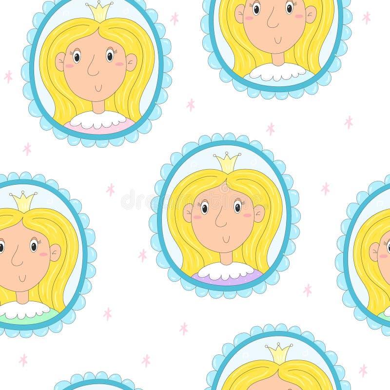 Retrato Dibujado Mano Linda De Una Princesa En Un Marco Modelo Del ...