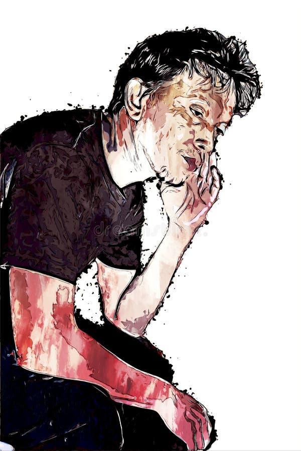 Retrato digital pintura do homem ilustração stock