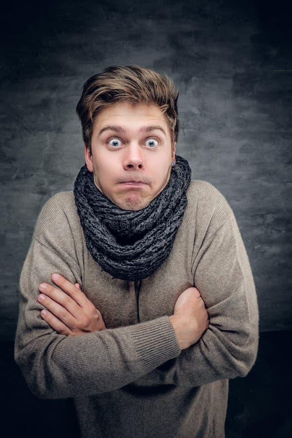 Retrato divertido del estudio de un manin un jersey y una bufanda foto de archivo libre de regalías