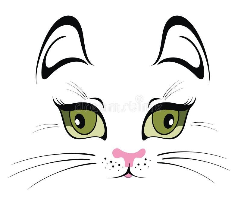 Retrato divertido del gato, diseño de la camiseta stock de ilustración