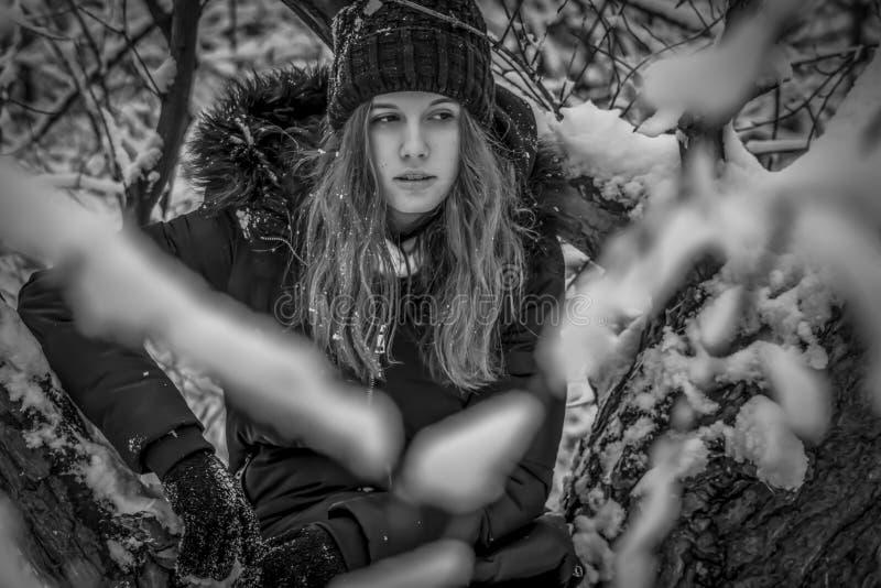 Retrato do adolescente bonito na floresta nevado, preto e branco fotos de stock royalty free