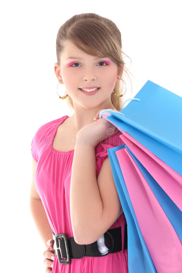 Retrato do adolescente feliz com sacos de compras foto de stock royalty free