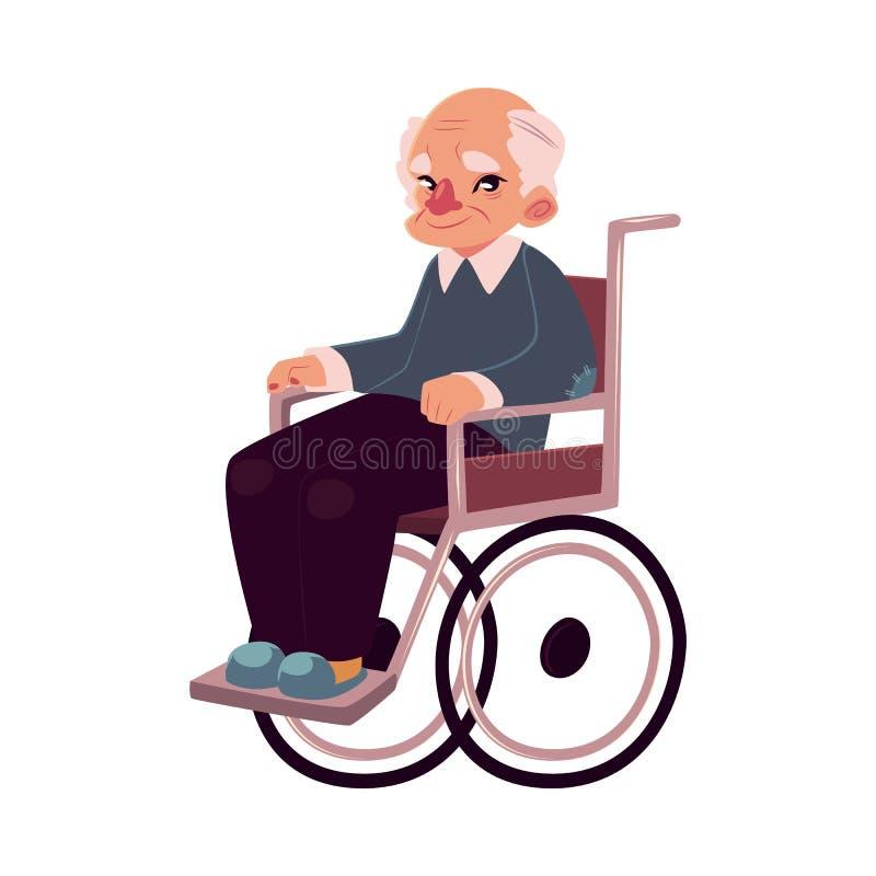 Retrato do ancião feliz que senta-se na cadeira de rodas ilustração do vetor