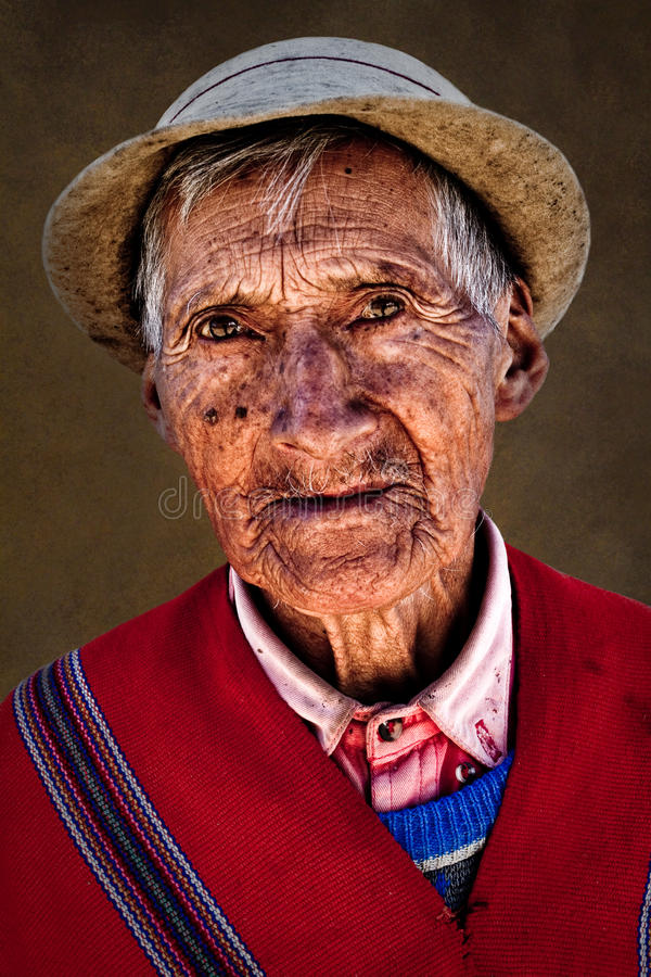 Retrato do ancião nativo de Guaranda imagem de stock