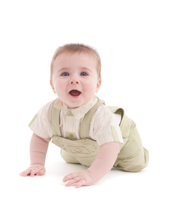 Retrato do bebê adorável dos azul-olhos que encontra-se para baixo foto de stock