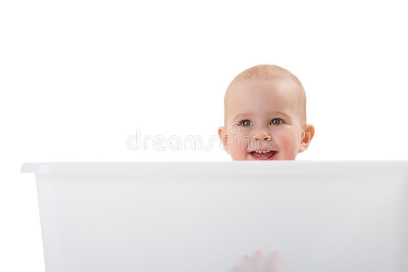 Retrato do bebê de sorriso novo imagem de stock