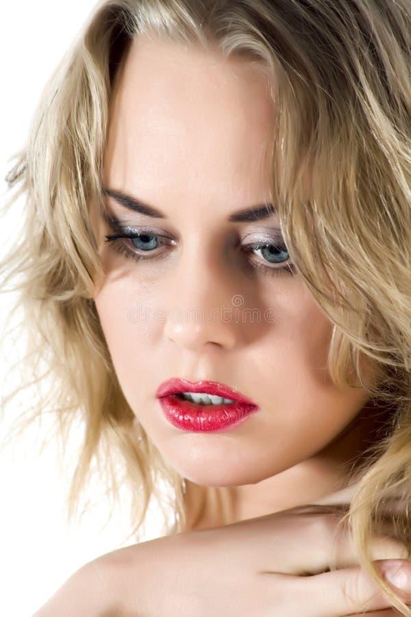 Retrato do blonde com olhos azuis imagens de stock