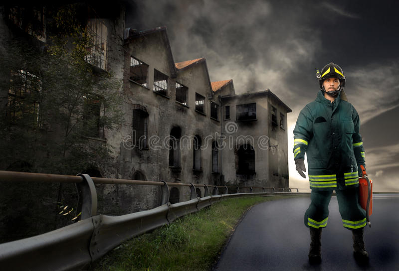 Retrato do bombeiro imagens de stock royalty free
