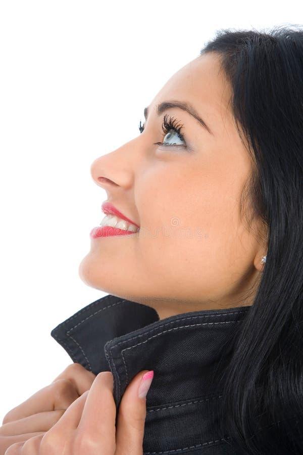 Retrato do brunette com olhos azuis fotos de stock royalty free