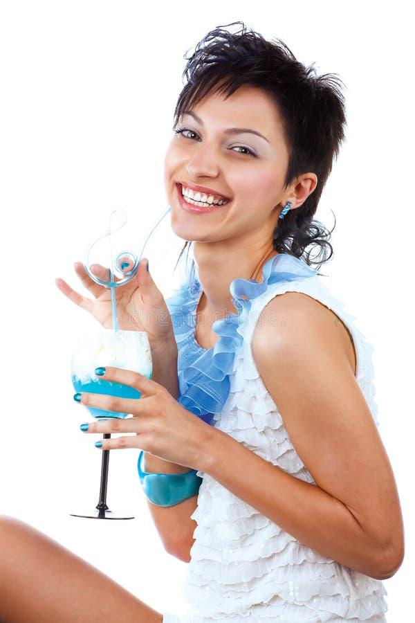 Retrato do brunette curly bonito fotos de stock