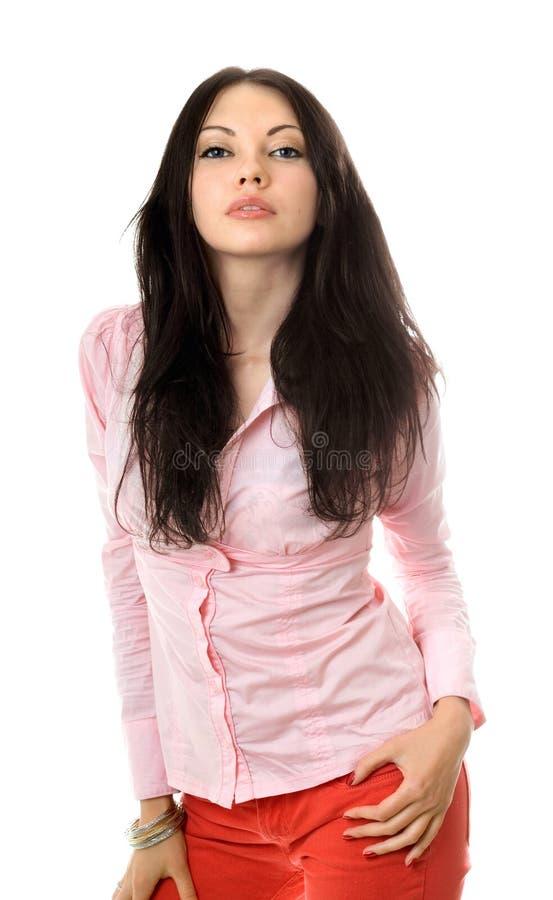 Retrato do brunette novo bonito fotografia de stock