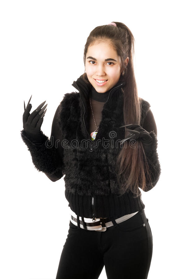 Retrato do brunette novo feliz nas luvas imagem de stock royalty free