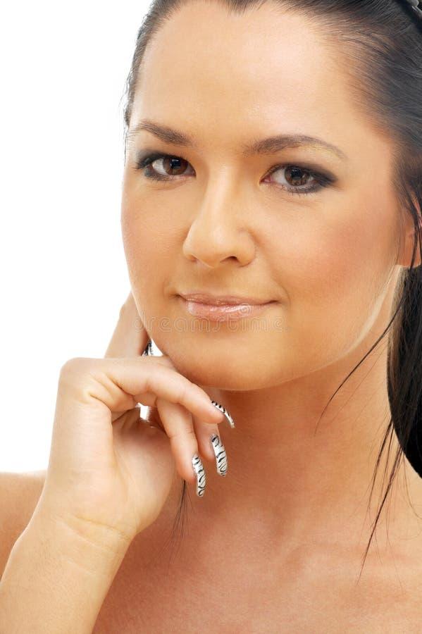 Retrato do brunette tanned foto de stock royalty free