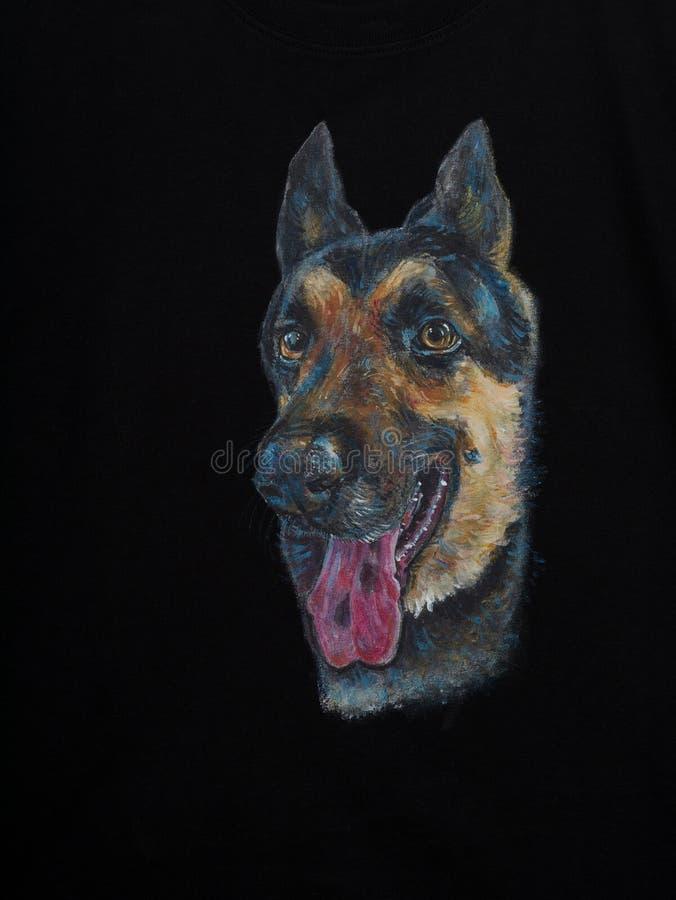 Retrato do cão alsatian, pintura acrílica na tela imagem de stock