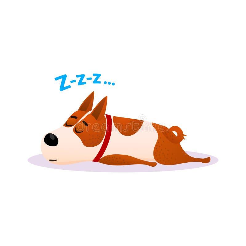 Retrato do cão do sono dos desenhos animados Cachorrinho de descanso bonito ilustração royalty free