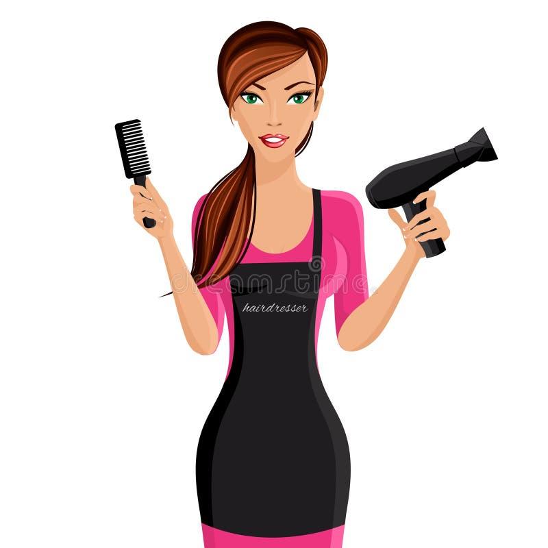 Retrato do cabeleireiro da mulher ilustração do vetor