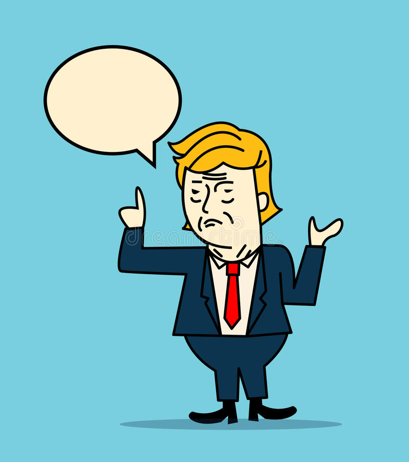 Retrato do caráter de Donald Trump que dá um discurso ilustração do vetor
