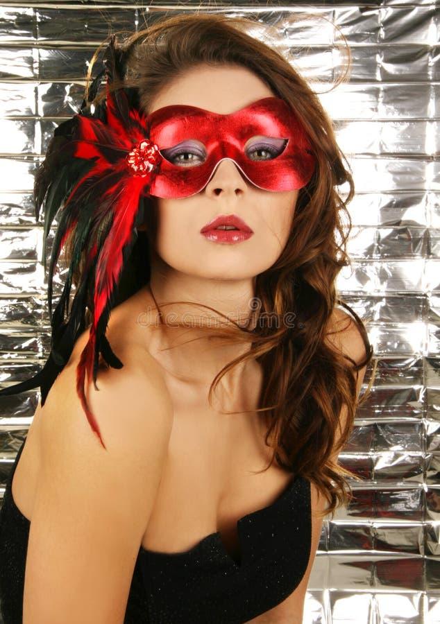 Retrato do carnaval bonito atrativo miliampère da mulher imagem de stock
