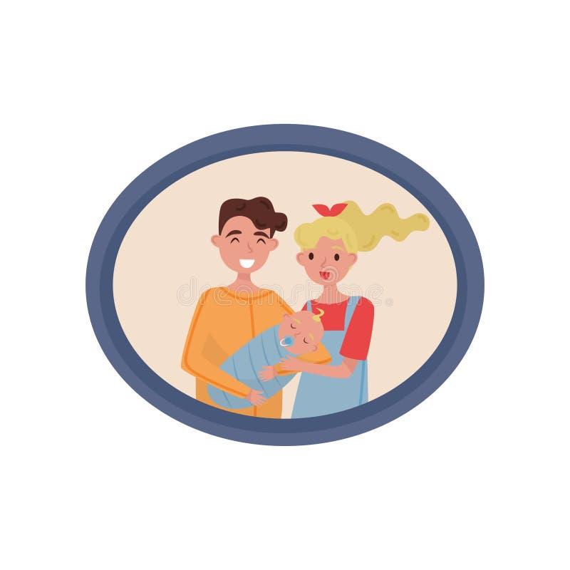 Retrato do casal com um bebê recém-nascido, foto de família na ilustração do vetor do quadro de madeira em um fundo branco ilustração royalty free