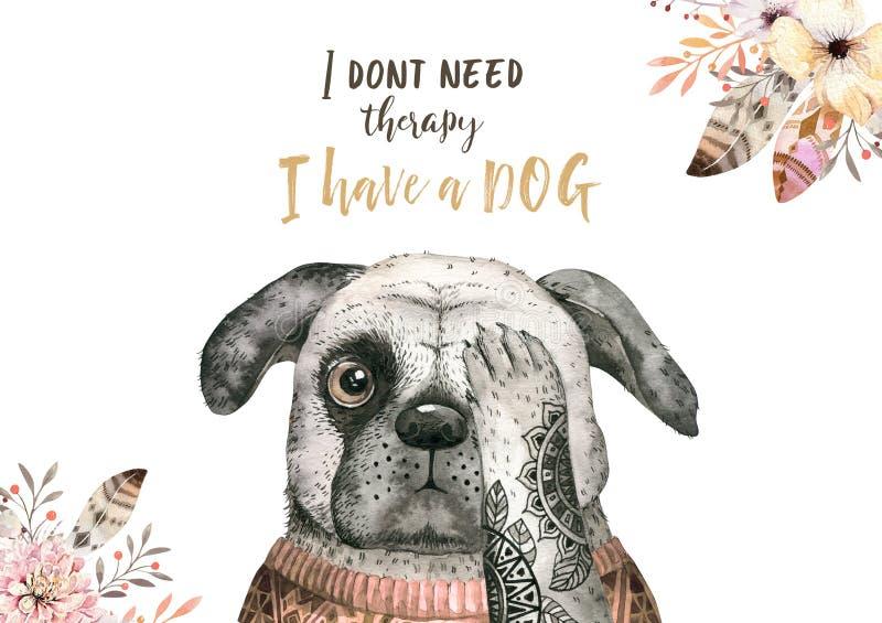 Retrato do close up da aquarela do cão bonito Isolado no fundo branco Animal de estimação home doce tirado mão Animal do cartão ilustração stock