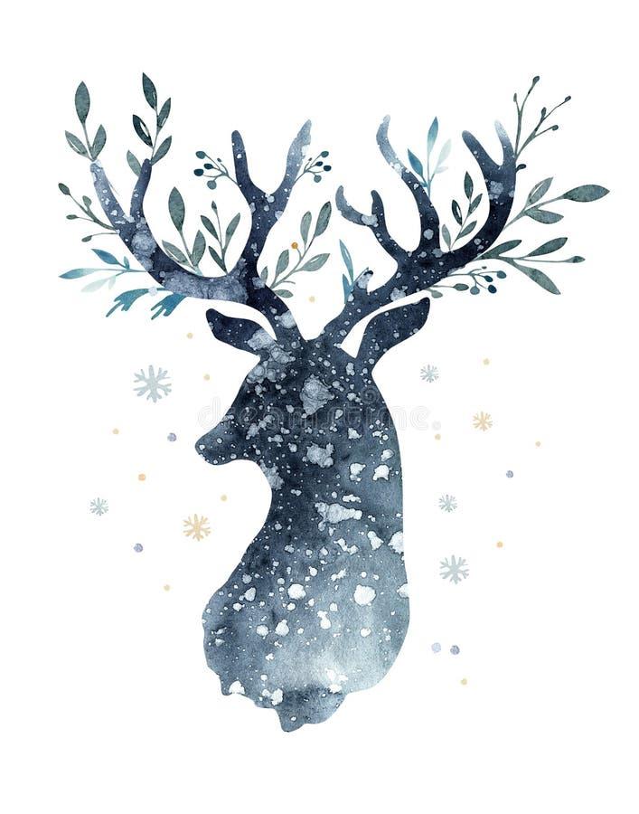 Retrato do close up da aquarela de cervos azuis Isolado no fundo branco Ilustração tirada mão do índigo do Natal ilustração stock