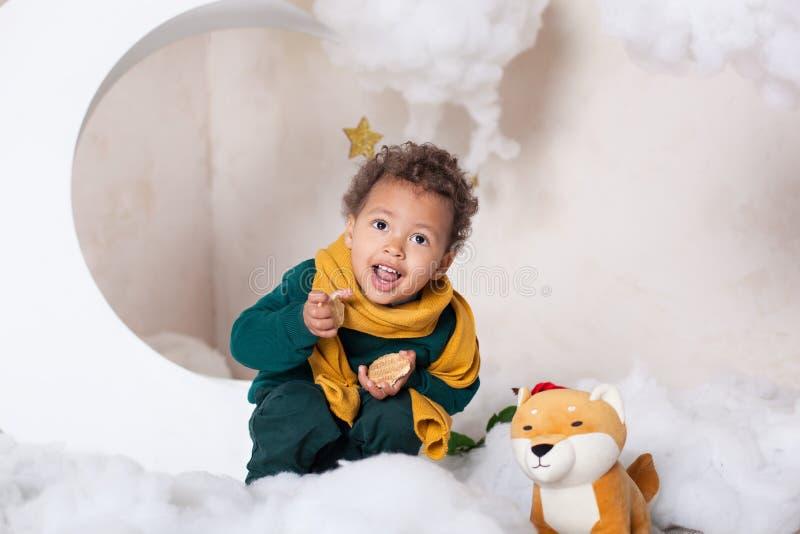 Retrato do close-up da cara de um menino preto, afro-americano O menino preto pequeno senta-se e sorri-se Bebê bonito, bebê no jo foto de stock royalty free