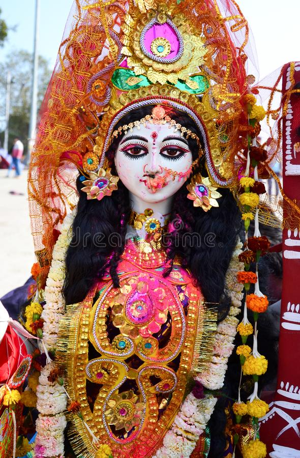 Retrato do close up da deusa hindu Saraswati fotografia de stock royalty free