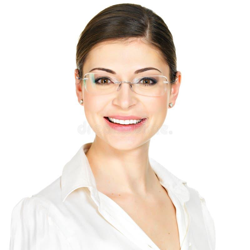 Retrato da mulher feliz bonita nos vidros fotos de stock