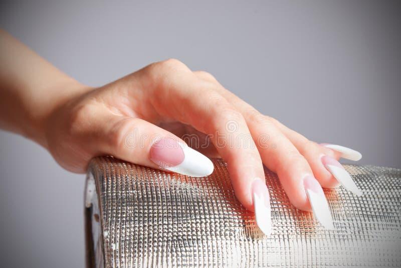 Retrato do close-up da mão fêmea com os pregos manicured da forma foto de stock